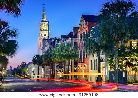 Charleston, South Carolina, USA cityscape at  St. Michael's Episcopal Church.