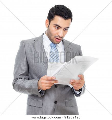 Surprised Or Shocked Businessman Holding Some Documents, Isolated On White