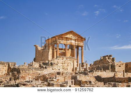 Ruins Of The Roman City Of Dougga. A Unesco World Heritage Site In Tunisia.