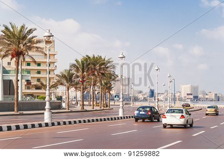 Road And Embankment In Alexandria, Egypt.