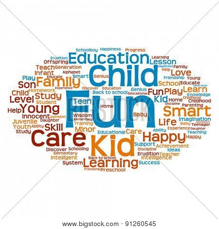 Vector concept or conceptual child education abstract word cloud
