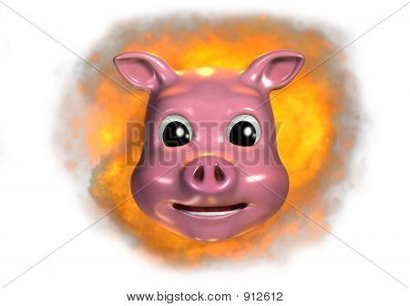 Piggy Emoticon - Fired Up