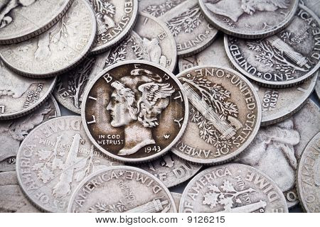 Pile Of Old Silver Dimes