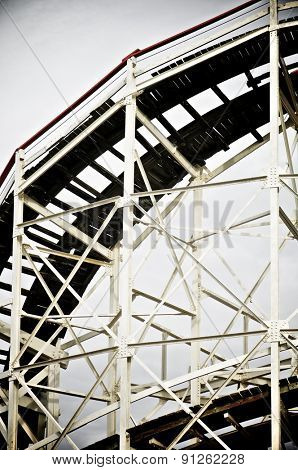 Cyclone Roller coaster in the Coney Island Astroland Amusement Park, New York, Usa.