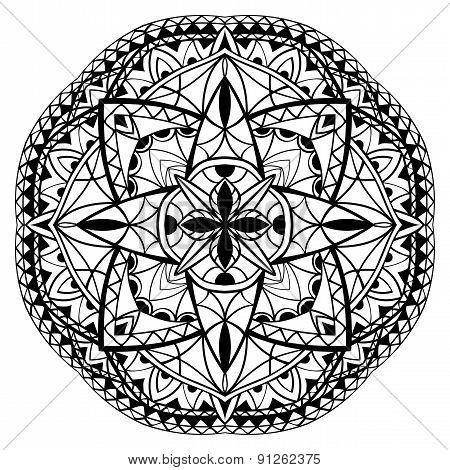 Medieval Black And White Mandala