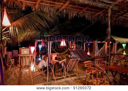 Bungalow beach bar in Puerto Lopez, Manabi, Ecuador