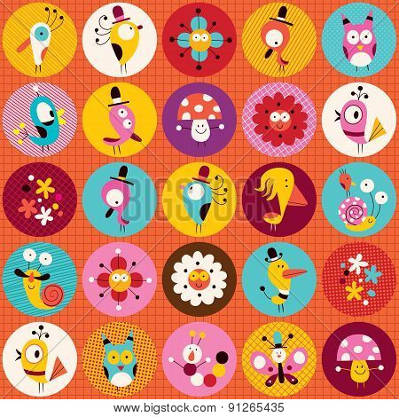 cute characters nature pattern