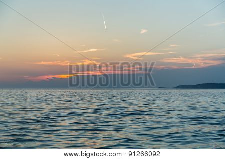 Coastline with horizon and sky