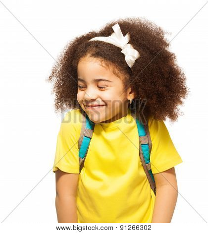 Shy African girl with white bow, closed eyes