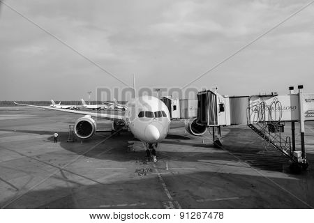 MOSCOW - MARCH 30: Docked jet flight in Domodedovo airport on March 30, 2014 in Moscow. Domodedovo International Airport is one of the three major airports that serve Moscow