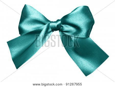 cyan bow made from silk isolated
