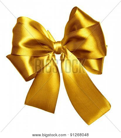 yellow bow made from silk isolated