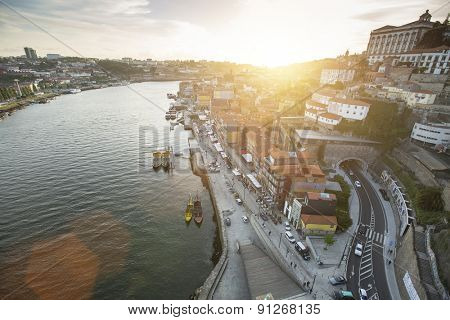 Top View of Ribeira, traditional boats at Douro river in Porto, Portugal.