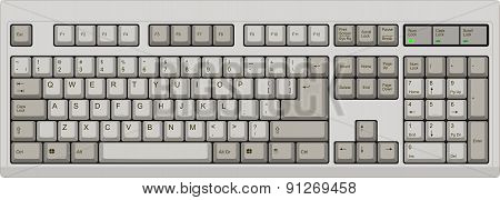 Us English Qwerty Computer Keyboard. Grey Color
