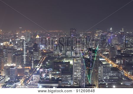 Bangkok City Top View At Night