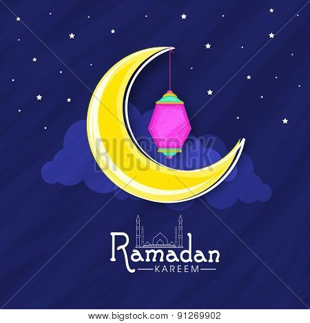Islamic holy month of prayer, Ramadan Kareem celebration with crescent moon and Arabic lantern on night view background.