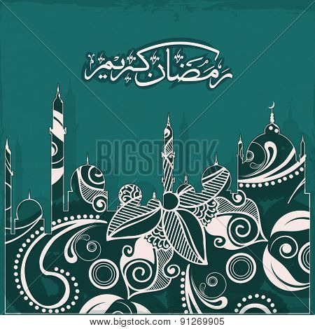 Creative artistic design with mosque made by beautiful floral design, and arabic islamic calligraphy of text Ramadan Kareem on green background for Islamic holy month of prayers, celebrations.