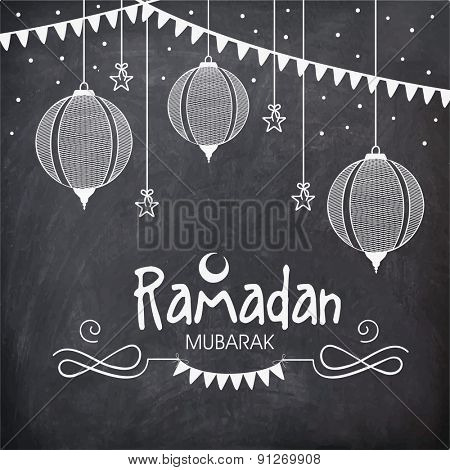 Holy month of Muslim community, Ramadan Kareem celebration greeting card decorated with hanging Arabic lanterns and stars on chalkboard background.