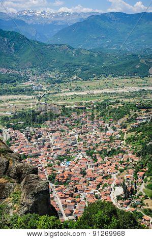Kalambaka town bird view from the Meteora rocks, Greece