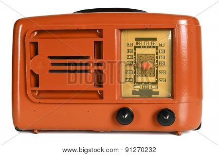 Orange vintage radio with dials isolated over white background - With clipping path