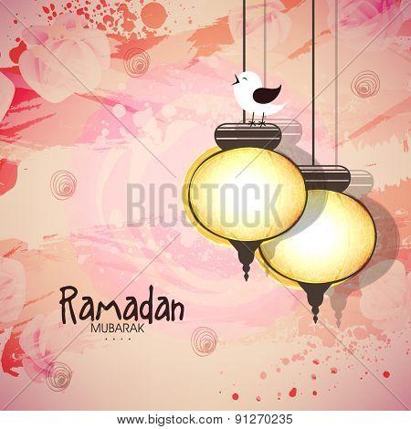 Holy month of Muslim community, Ramadan Kareem celebration with illustration of a bird sitting on illuminated Arabic lantern on grungy background.