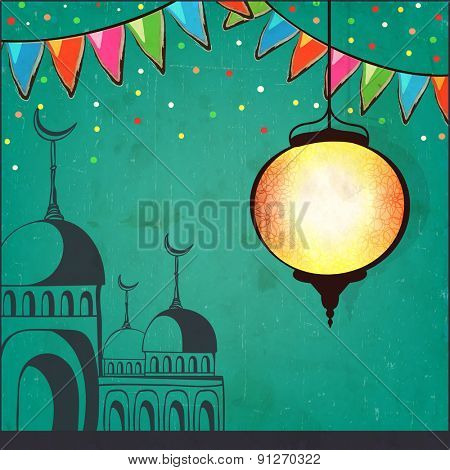 Beautiful Arabic lantern and mosque on green background, Elegant greeting card for Islamic holy month of prayer, Ramadan Kareem celebration.