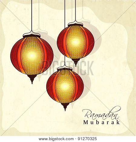 Holy month of Muslim community, Ramadan Kareem celebration with hanging illuminated Arabic lanterns on yellow background.