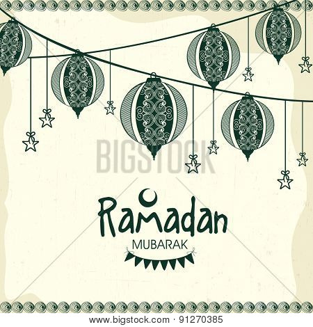 Floral Arabic lanterns and stars decorated greeting card for Islamic holy month of prayer, Ramadan Kareem celebration.
