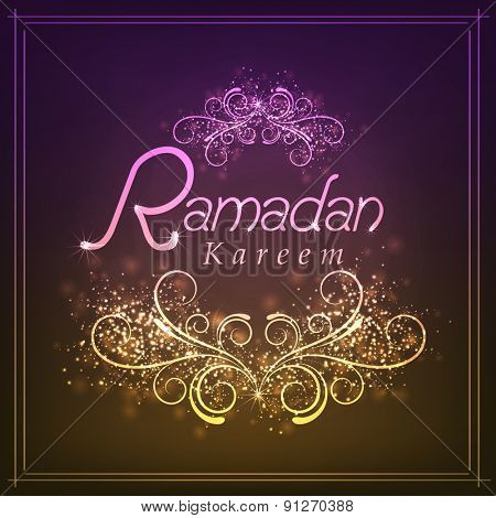 Beautiful greeting card with shiny floral design for holy month of Muslim community, Ramadan Kareem celebration.