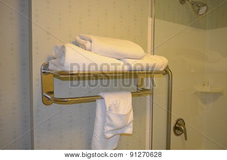 White towels on the towel rack