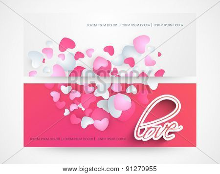 Website header or banner set of love with hearts.
