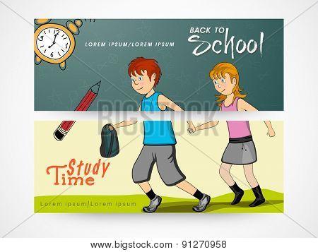 Back to school concept website header or banner set.