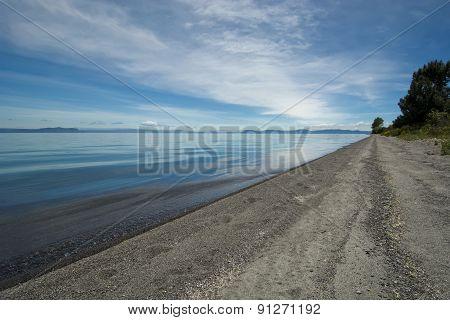 Beach on Lake Taupo, North Island, New Zealand