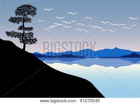 illustration with swans above mountain lake