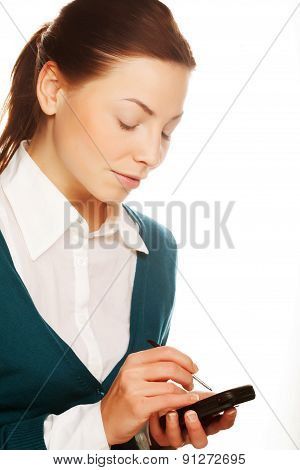 Young businesswomen with PDA