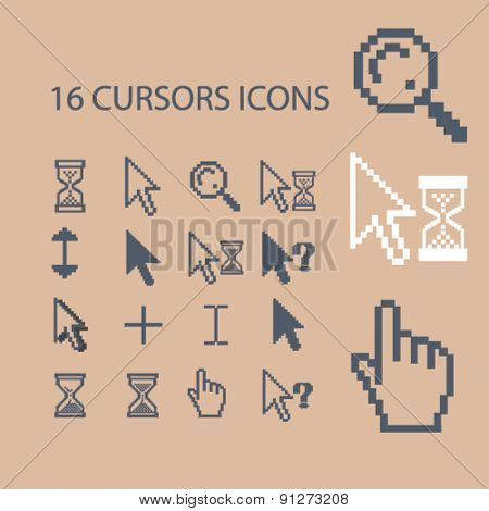 16 cursors icons set, vector