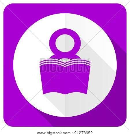 book pink flat icon reading room sign bookshop symbol
