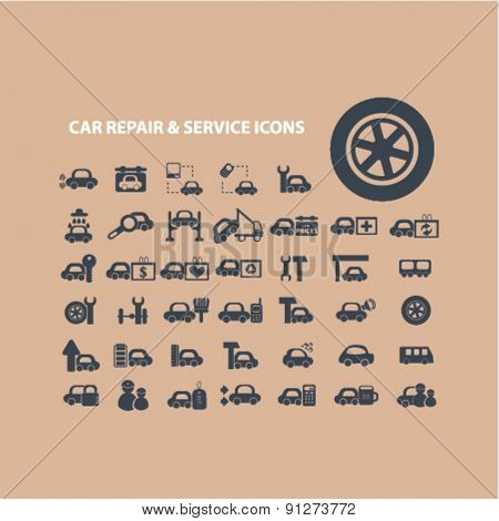 car repair, auto service icons set, vector