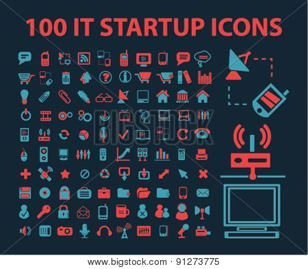 100 startup icons set, vector