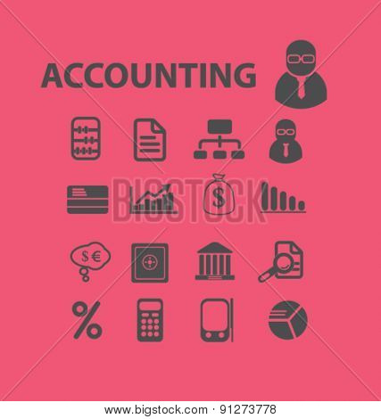 accounting icons set, vector
