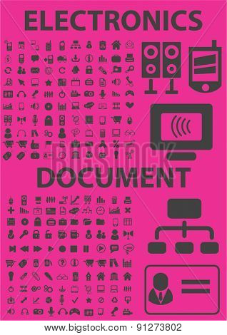 200 electronics, document icons set, vector