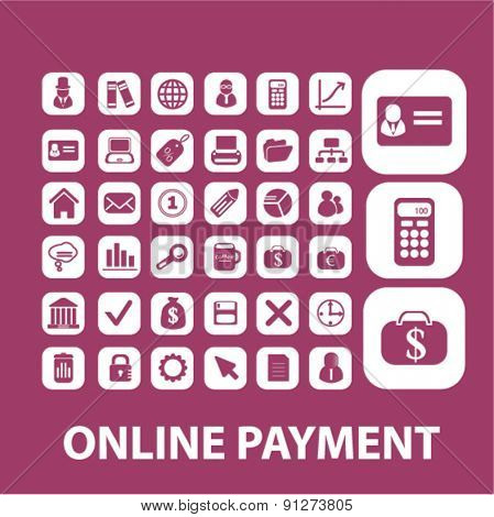 online payment icons set, vector