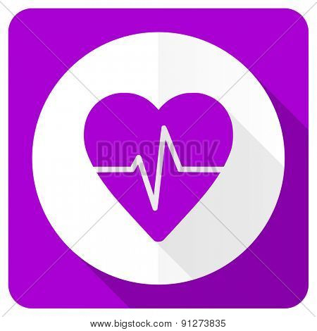 pulse pink flat icon heart rate sign