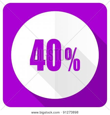 40 percent pink flat icon sale sign