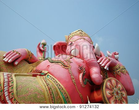 elephant head god in pink