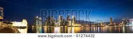 panoramic skyline and illuminated cityscape at riverbank