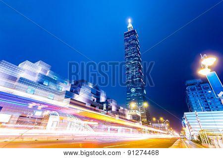 traffic blur motion in modern city street