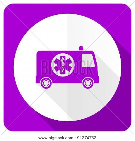 ambulance pink flat icon
