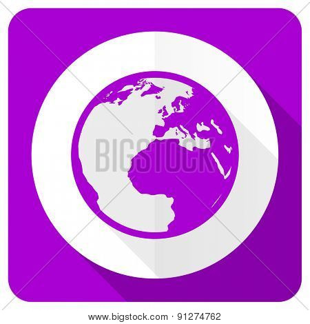 earth pink flat icon world sign