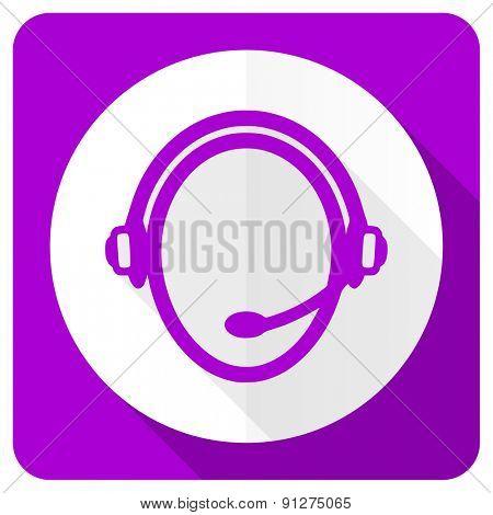 customer service pink flat icon